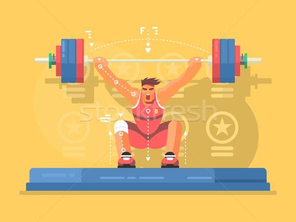 Gewichtheffen ontwerp sterke man gymnasium Stockfoto © jossdiim