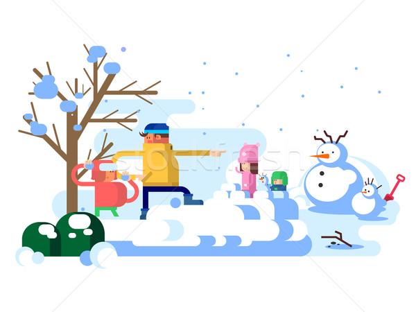 çocuklar oynama kış kar açık çocukluk Stok fotoğraf © jossdiim