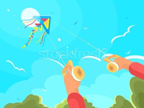 Man spelen Kite hemel vector ontwerp Stockfoto © jossdiim