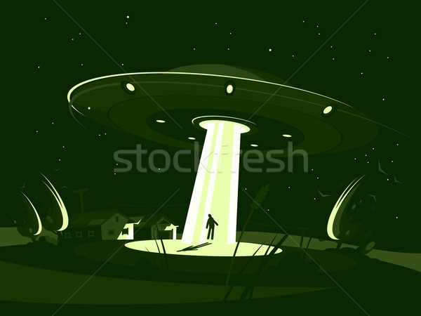 Spaceship abducts man Stock photo © jossdiim