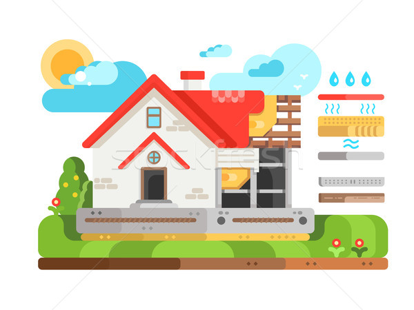 Construction of private house in section Stock photo © jossdiim