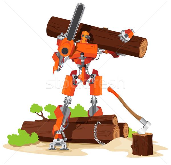 Foto stock: Robot · carácter · árbol · mano · cara
