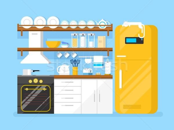 Kuchnia stylu meble lodówce opiekacz tablicy Zdjęcia stock © jossdiim