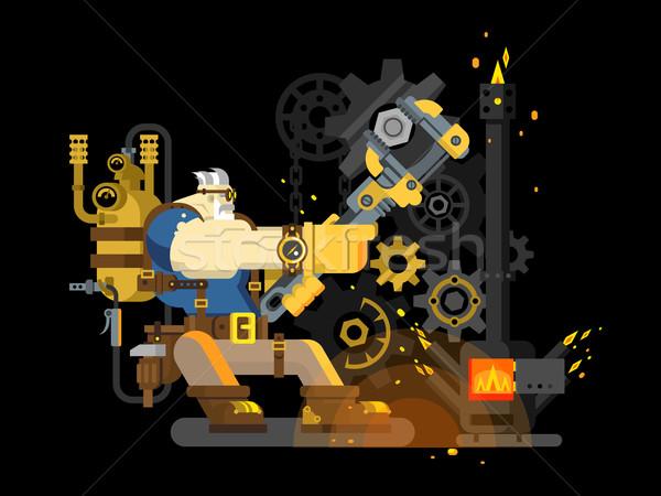Vapeur ingénieur travail travailleur génie Photo stock © jossdiim