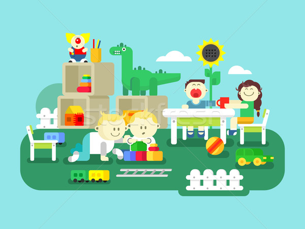 Kindergarten flat design Stock photo © jossdiim