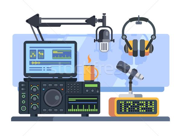 Rádió állomás stúdió profi mikrofon egyéb Stock fotó © jossdiim