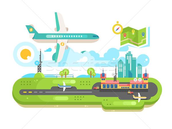 Aeroporto costruzione infrastrutture piano viaggio aria Foto d'archivio © jossdiim