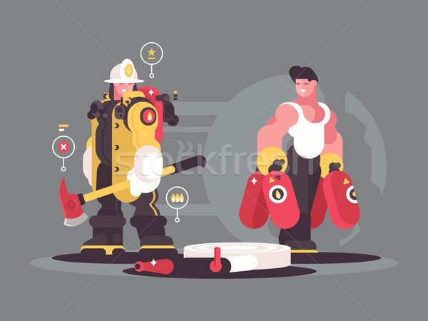 Stock photo: Team firefighters characters