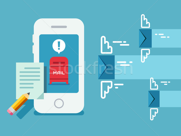 Newsletter Notification on Smart Phone Screen Flat Style. Stock photo © jossdiim