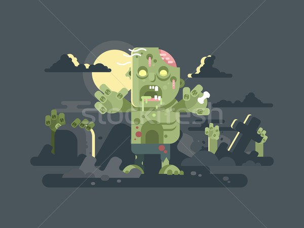 Stock photo: Zombies in cemetery night