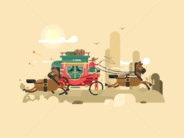 Stock photo: Stagecoach design flat