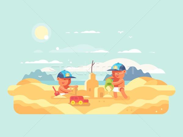 Foto stock: Areia · da · praia · castelo · praia · criança · edifício
