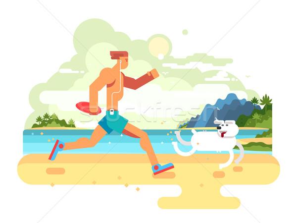 Reggel law tengerpart kutya fitnessz életstílus Stock fotó © jossdiim