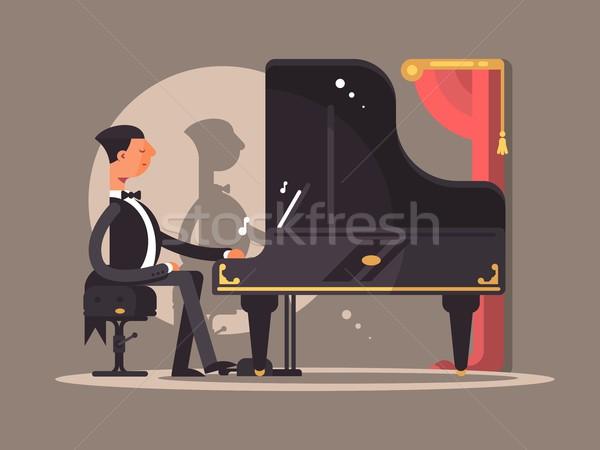 Stock fotó: Zongorista · koncert · híres · zeneszerző · előadás · vektor