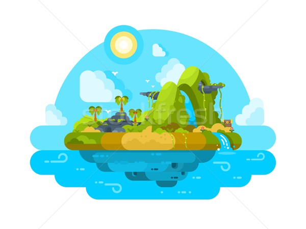 Uninhabited island in ocean Stock photo © jossdiim