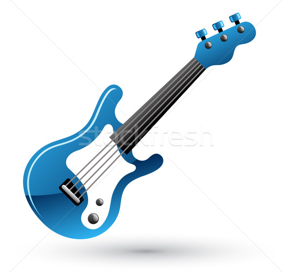 Guitarra icono blanco azul negro de audio Foto stock © jossdiim