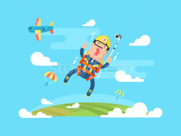 Skydiving sport flat Stock photo © jossdiim