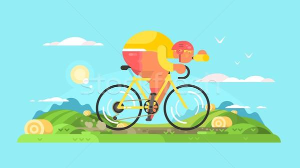 Cyclist sportsman on bike Stock photo © jossdiim