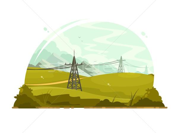Elektrycznej metal elektryczne niebo ramki Zdjęcia stock © jossdiim