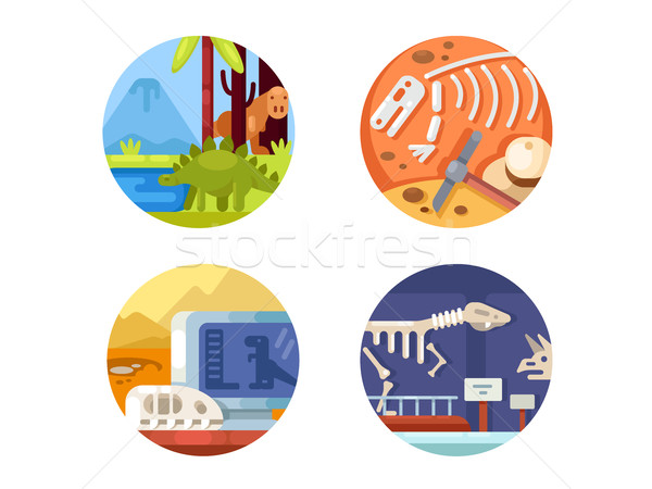 Archeology set of icons. Stock photo © jossdiim