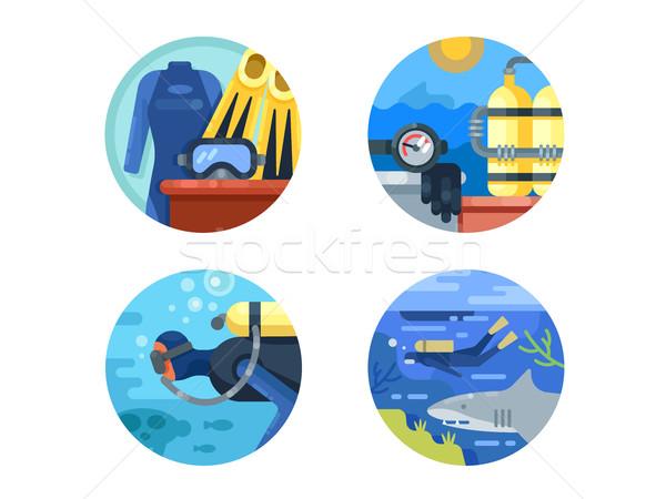 Búvárkodik ikon gyűjtemény víz búvár nedves öltöny Stock fotó © jossdiim