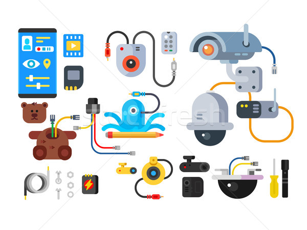 CCTV device of set design flat Stock photo © jossdiim