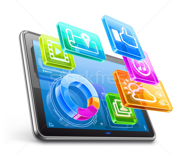 Stock photo: Tablet PC with application icons and pie chart