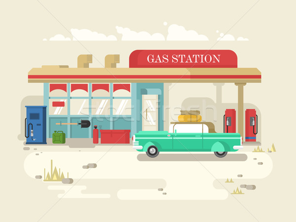Gas stantion retro flat design Stock photo © jossdiim