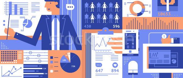 Statistisch business informatie analytics diagram Stockfoto © jossdiim