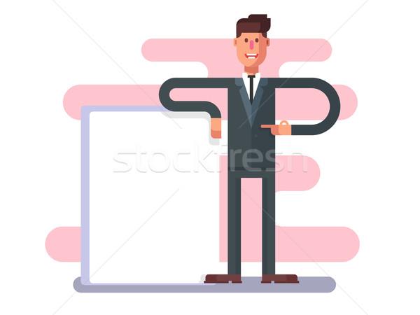 Empresario publicidad hombre anuncio persona carácter Foto stock © jossdiim