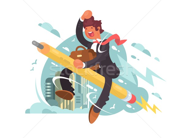 Businessman fly on pencil Stock photo © jossdiim