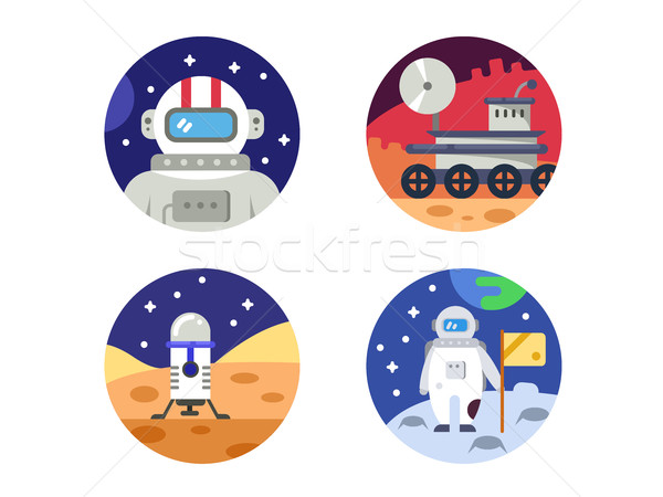 Cosmonaut icons pixel perfect Stock photo © jossdiim