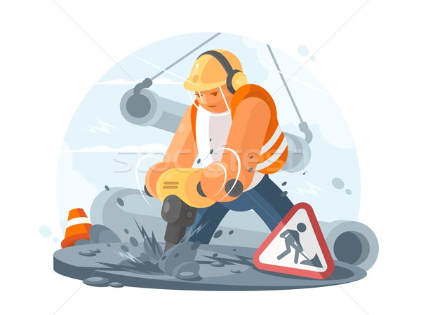 Road worker with puncher Stock photo © jossdiim