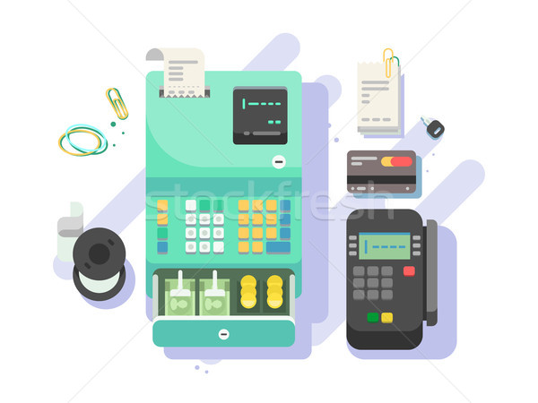 Cash machine with money and terminal for cards Stock photo © jossdiim