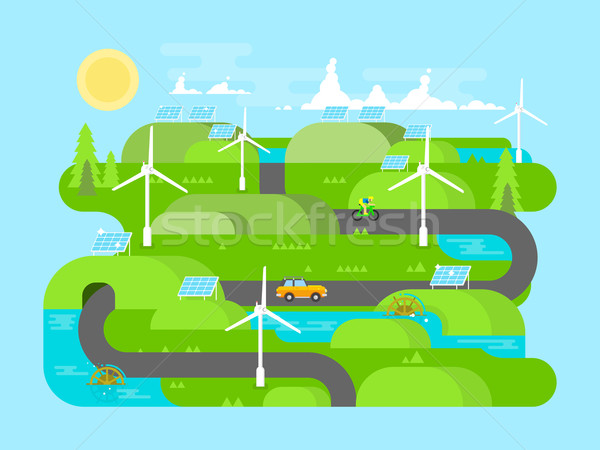 Groene energie ontwerp ecologie milieu water natuurlijke Stockfoto © jossdiim