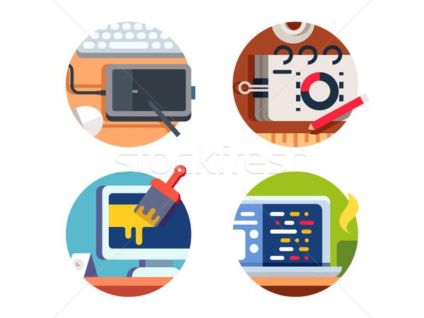 Computersoftware ontwerp tekening graphics tablet achtergrond Stockfoto © jossdiim