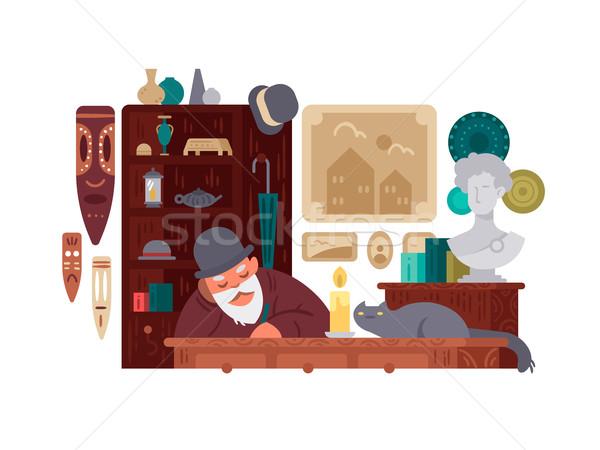 販売者 アンティーク ショップ 古い 珍しい ストックフォト © jossdiim