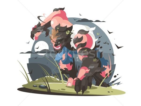 Werewolf to turn from man to wolf Stock photo © jossdiim