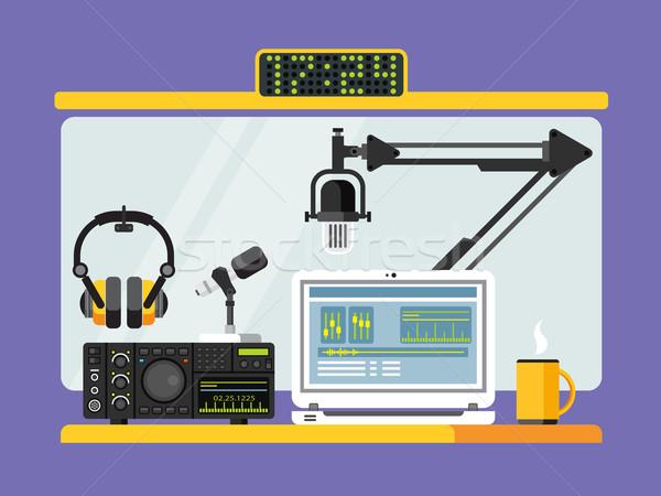 Professional radio station studio with microphones and headphones Stock photo © jossdiim