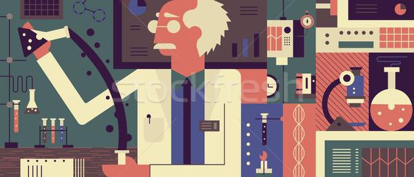 Stock photo: Scientist in laboratory background