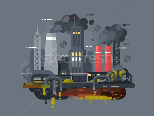 Mills and factories polluting environment Stock photo © jossdiim