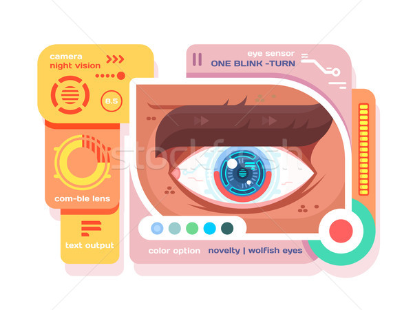 Technology in retina of eye flat Stock photo © jossdiim