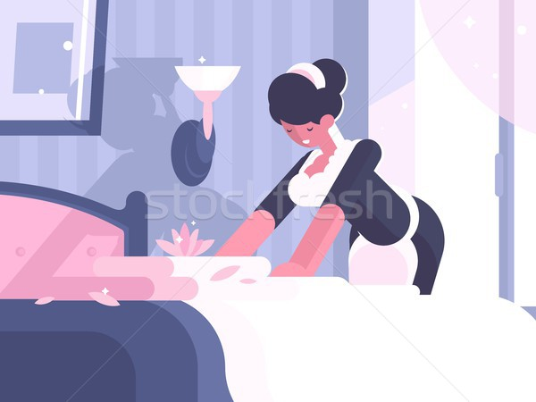 Hotel service cleaning and linen change Stock photo © jossdiim