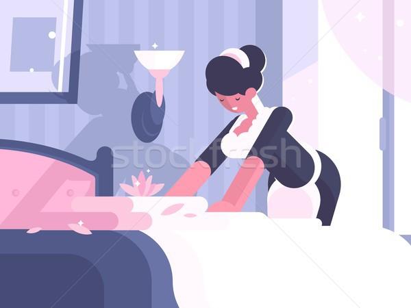 Hotel szolgáltatás takarítás vászon apró házvezetőnő Stock fotó © jossdiim