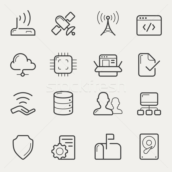 Network and servers line icons Stock photo © jossdiim
