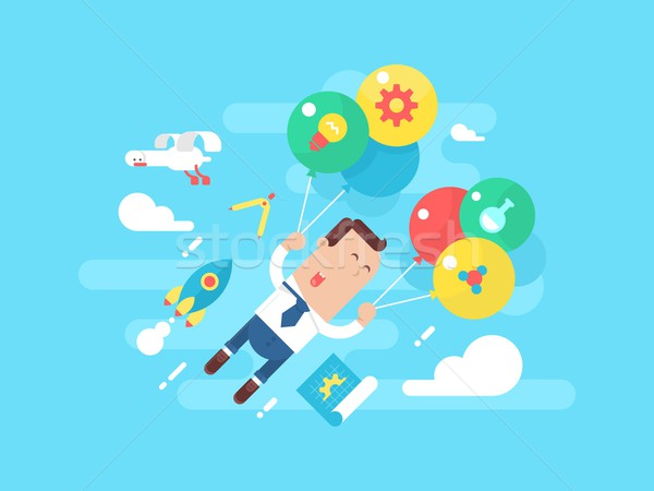 Business man fly with balloons. Concept startup Stock photo © jossdiim