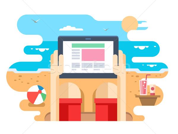 Tableta mano playa mar Screen digital Foto stock © jossdiim