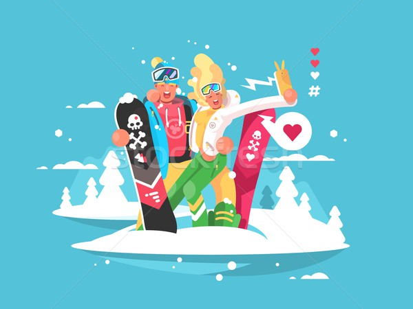 Stock photo: Couple snowboarders boy and girl