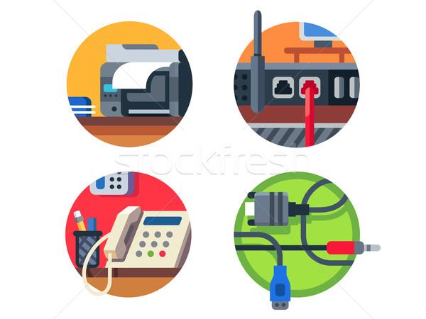 Equipamentos de escritório conjunto impressora router telefone cabo Foto stock © jossdiim