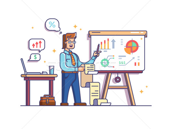 Business analyst shows charts and graphs Stock photo © jossdiim